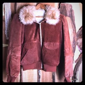 VINTAGE 70s Suede and Faux Fur Bomber Jacket S